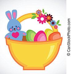 ostern, karte, von, korb, mit, eier, und, kaninchen