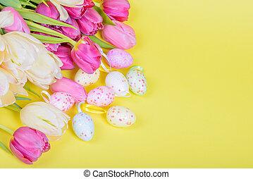 ostern, mehrfarbig, tulpen, und, eier