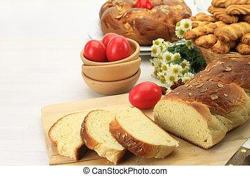 ostern, süßes brot, mit, rotes , eier, und, butterkeks, pl�tzchen