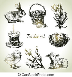 ostern, set., hand, gezeichnet, illustrationen