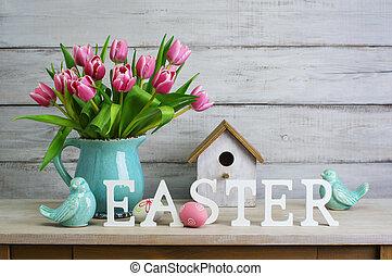 ostern, stilleben, mit, eier, und, tulpen