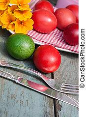 ostern, stilleben, mit, gemalt, eier