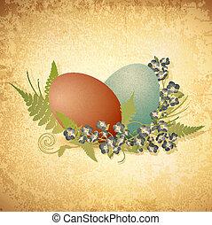 ostern, weinlese, hintergrund, mit, eier