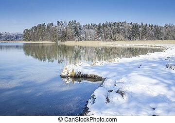 osterseen, inverno, paisagem