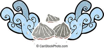 ostras, retro, caricatura