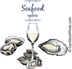 ostras, vidrio., vino