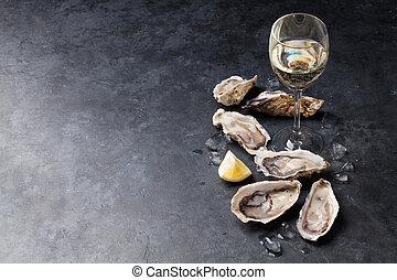 ostras, vino