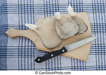 ostrica, -, funghi, tagliere, coltello