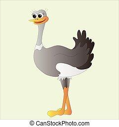 Ostrich doodle cartoon