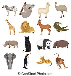 Ostrich emu, crocodile, giraffe, tiger, penguin and other...
