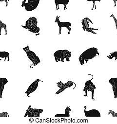 Ostrich emu, crocodile, giraffe, tiger, penguin and other...