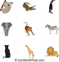 Ostrich emu, crocodile, giraffe, tiger, penguin and other wild animals. Artiodactyla, mammalian predators and animals set collection icons in cartoon style vector symbol stock illustration web.
