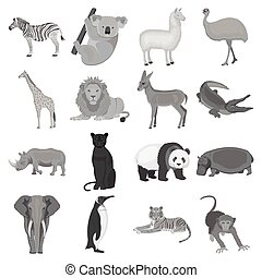 Ostrich emu, crocodile, giraffe, tiger, penguin and other wild animals. Artiodactyla, mammalian predators and animals set collection icons in monochrome style vector symbol stock illustration web.