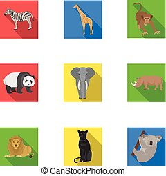 Ostrich emu, crocodile, giraffe, tiger, penguin and other wild animals. Artiodactyla, mammalian predators and animals set collection icons in flat style vector symbol stock illustration web.