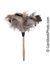 Ostrich Feather Duster - Gray ostriched feather duster with...