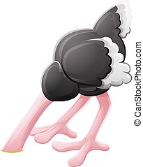 Ostrich Head Buried Cartoon Character