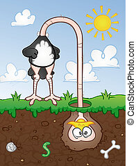 An ostrich cartoon character with his head stuck underground out of stress or fear.