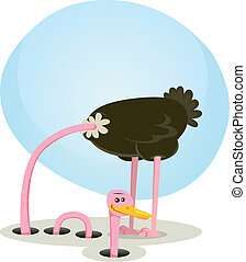 Illustration of a funny cartoon ostrich bird character burying neck and head into the ground and rising little further smiling and happy, symbolizing trust, healing and health recovery