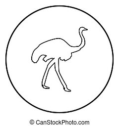 Ostrich icon black color in circle round