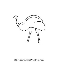 Ostrich icon, outline style