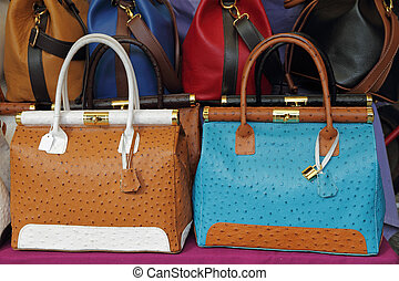 ostrich leather colorful handbags on Mercato di San Lorenzo...