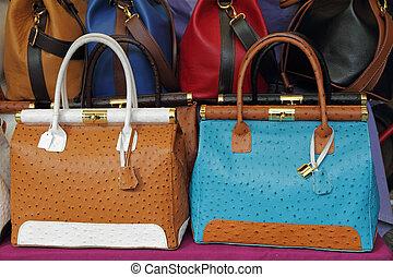 ostrich leather colorful handbags on Mercato di San Lorenzo...