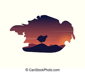 Ostrich on the hill landscape silhouettes