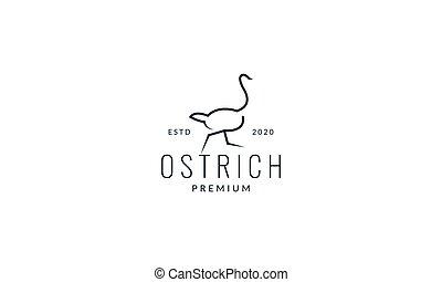 ostrich run line minimalist  logo vector illustration design