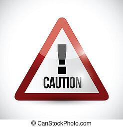 ostrożność, ostrzeżenie, projektować, ilustracja, znak