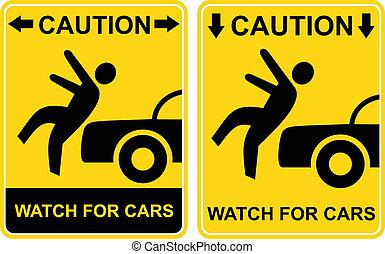ostrożność, -, pilnowanie, dla, cars.