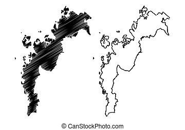 ostrobothnia, (republic, bazgrać, ilustracja, okolica, rys, finland), mapa, wektor