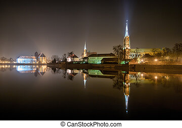 Ostrow Tumski in the night, Wroclaw, Poland
