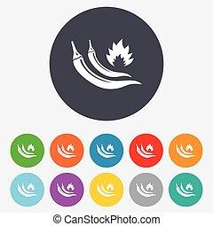 ostry, jadło, symbol., znak, gorące pieprzyki, chili, icon.