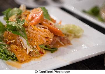 ostry, sałatkowe jadło, łosoś, thai, style.