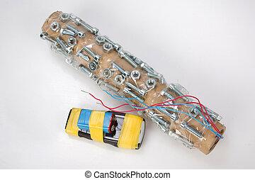 ostrzał, rura, bomba, telefon, handmade, komórka, urządzenie