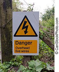 ostrzeżenie, żółty triangel, znak, niebezpieczeństwo, na górze, żywy, druty
