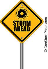 ostrzeżenie, burza, znak
