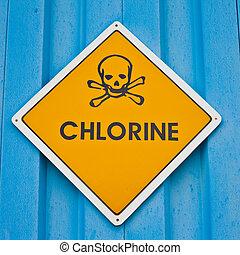 ostrzeżenie, chlor, znak