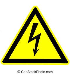 ostrzeżenie, od, danger., electricity., żółty, tło.
