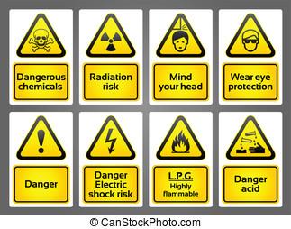 ostrzeżenie sygnuje, etykiety