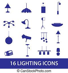 osvětlení, ikona, dát, eps10