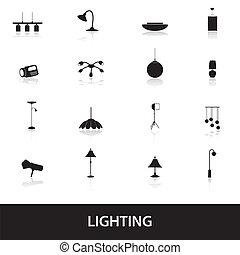 osvětlení, ikona, eps10