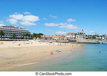 oszałamiający, plaża, w, cascais, portugalia