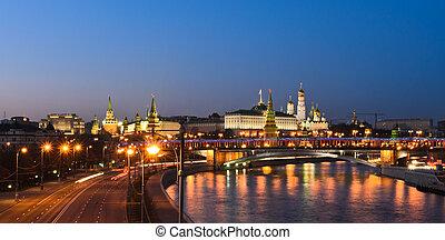 oszałamiający, prospekt, moskwa, kreml