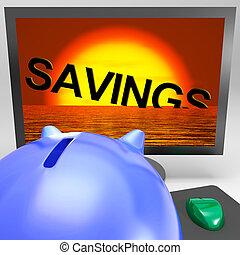 oszczędności, tonięcie, na, hydromonitor, pokaz, monetarny, strata