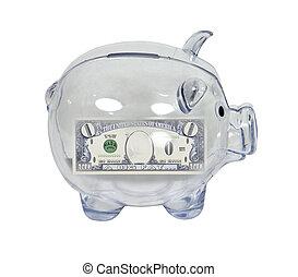oszczędności, zero, bank, świnka
