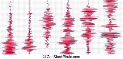 oszilloskop, seismogram, graph., abbildung, seismograms, schaubilder, vektor, aktivität, wellenform, seismisch, wellen, erdbeben
