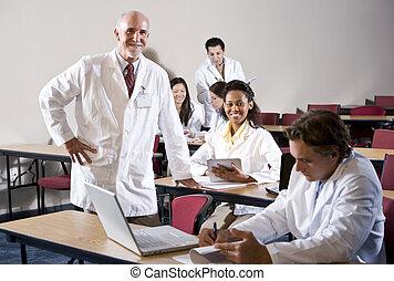 osztályterem, diákok, egyetemi tanár, orvosi