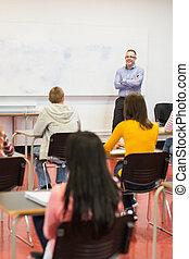 osztályterem, diákok, figyelmes, tanár