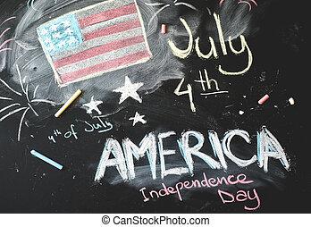 osztályterem, flag...4, amerikai, fekete, chalkboard, th, július